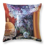 Lilacs And Candles Throw Pillow