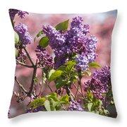 Lilacs And Dogwoods Throw Pillow