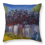 Lilacs On A Fence  Throw Pillow