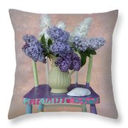Lilacs With Chair And Shell Throw Pillow
