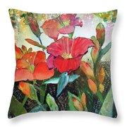 Lilies And Hummingbird Throw Pillow