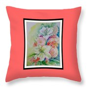Lilies And Mums Throw Pillow