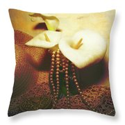 Lilies And Pearls Throw Pillow
