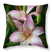 Lilies And Raindrops Throw Pillow