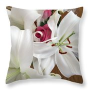 Lilies And Roses Throw Pillow