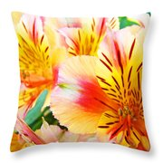 Lilies Art Prints Pink Yellow Lily Flowers 1 Giclee Prints Baslee Troutman Throw Pillow