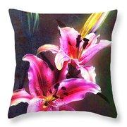 Lilies At Night Throw Pillow