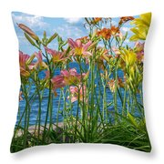 Lilies At The Waterfront Throw Pillow