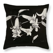 Lilies Black And White Throw Pillow