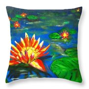 Lilies By The Pond Throw Pillow