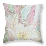 Lilies. Flowers And Buds. Throw Pillow