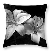 Lilies In Black And White Throw Pillow