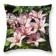 Lilies In Pink Throw Pillow