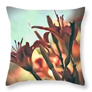 Orange Lilies Of The Day Throw Pillow