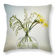 Lilies Of The Valley In A Glass Vase Throw Pillow