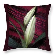 Lilies Paired On Red Brocade Throw Pillow