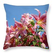 Lilies Pink Lily Flowers Art Prints Floral Summer Garden Baslee Troutman Throw Pillow