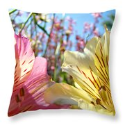 Lilies Pink Yellow Lily Flowers Canvas Art Prints Baslee Troutman Throw Pillow