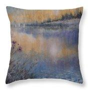 Lilies' Violet, Original Watercolor Throw Pillow