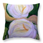Lilies With Chiffon Throw Pillow