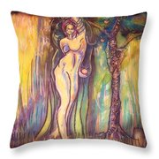 Lilith Satan Adam And The Fruit Throw Pillow