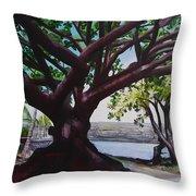 Liliuokalani Park Tree Throw Pillow
