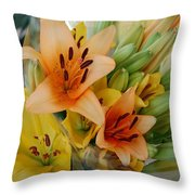 Lillies - Peach And Yellow Colors Throw Pillow