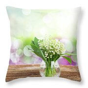 Lilly Of Valley Posy In Glass Throw Pillow