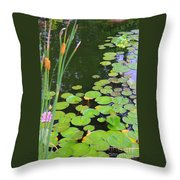 Lillypads And Cattails Throw Pillow