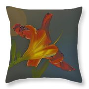 Lily Abstract Dark Background Bright Flower Throw Pillow