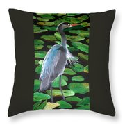 Lily And Egret Throw Pillow
