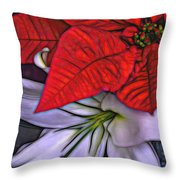 Lily And His Poinsetta Throw Pillow