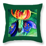 Lily And The Butterflies Throw Pillow