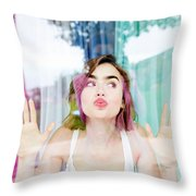 Lily Collins Throw Pillow