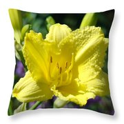 Lily Flower Art Print Canvas Yellow Lilies Baslee Troutman Throw Pillow