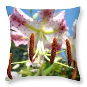 Lily Flower Close Up Macro Pink Lilies Blue Sky Baslee Throw Pillow
