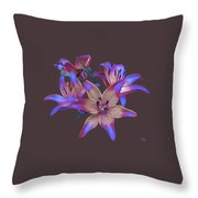 Lily Flowers Blue Maroon Throw Pillow