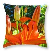 Lily Flowers Garden Art Prints Orange Lilies Floral Baslee Troutman Throw Pillow