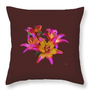 Lily Flowers Pink Maroon Throw Pillow