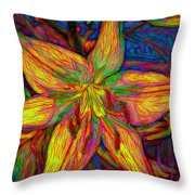 Lily In Abstract Throw Pillow