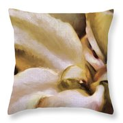 Lily In The Garden Neutral Throw Pillow