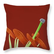 Lily On Red Throw Pillow