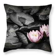 Lily Pad Blossoms Throw Pillow