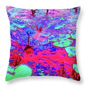 Lily Pads And Koi 15 Throw Pillow