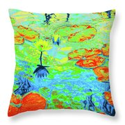Lily Pads And Koi 20 Throw Pillow
