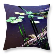 Lily Pads And Reeds Throw Pillow