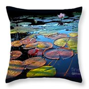 Lily Pads At Sunset Throw Pillow