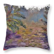 Lily Pads On A Pond, Overcast Sky 3pm Throw Pillow