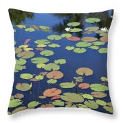 Lily Pads On Blue Pond Throw Pillow