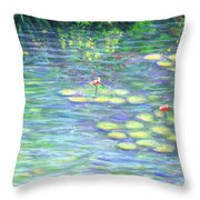 Lily Pads Triptych Panel Three Of Three Throw Pillow